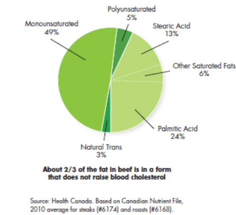 About 2/3 of the fat in beef is in a form that does not raise blood cholesterol