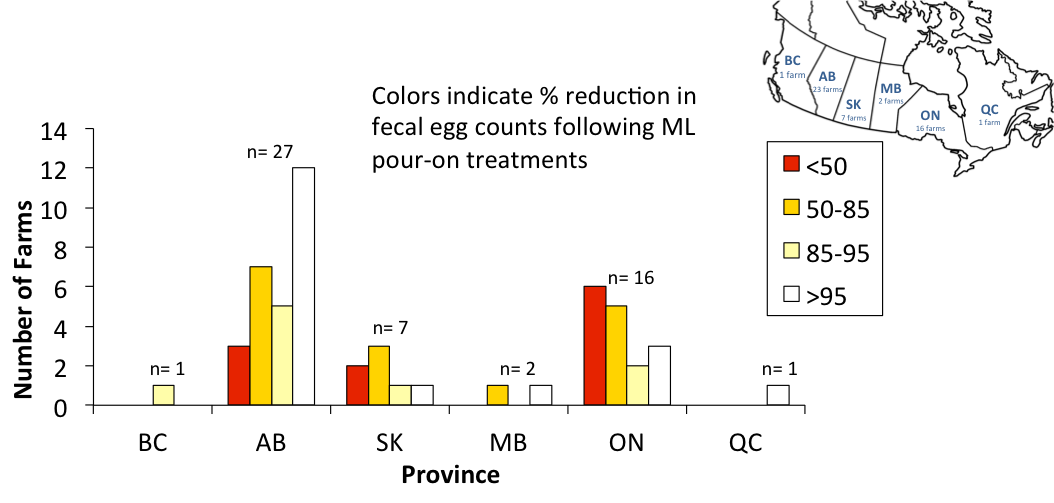 roundworm egg counts cattle canada