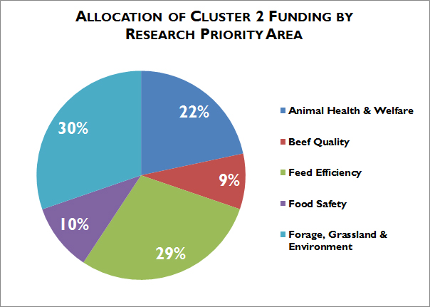 Allocation of cluster 2 funding by research priority area
