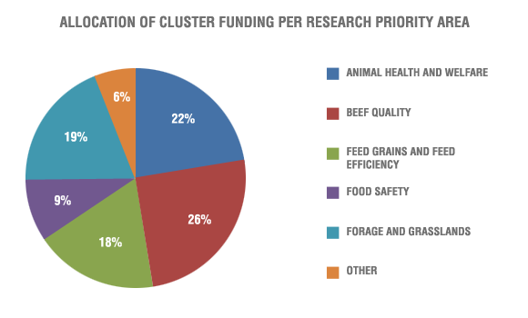 Allocation of cluster funding per research priority area